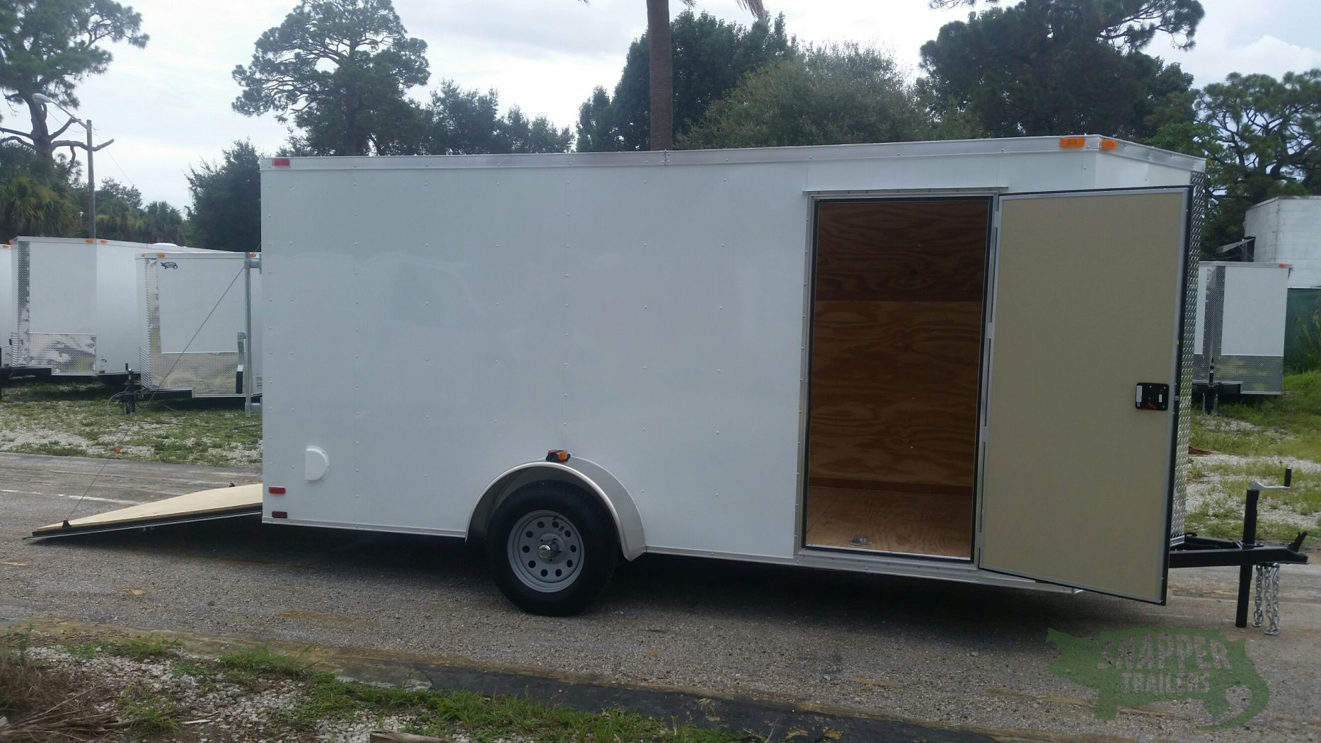 6x14 Sa Trailer White Ramp Side Door Extra Height