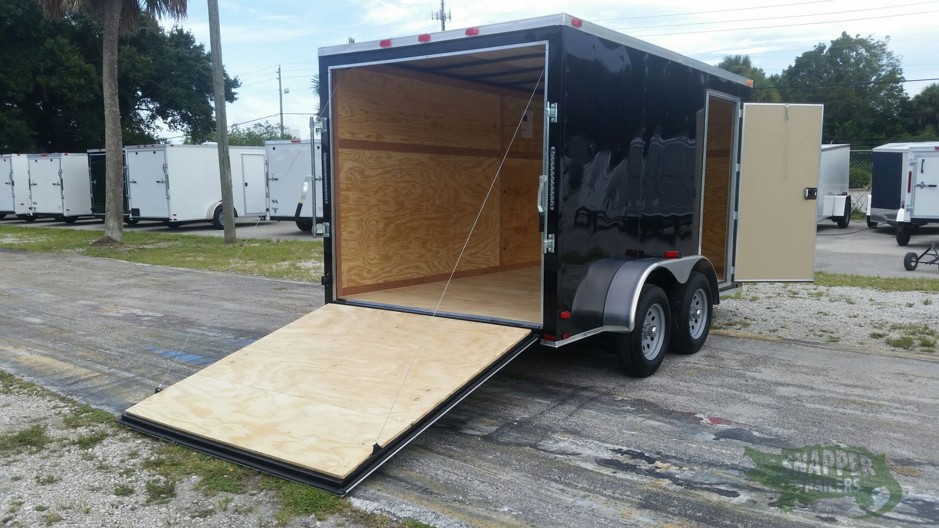 7x12 ta trailer black ramp side door extra height for Rv height