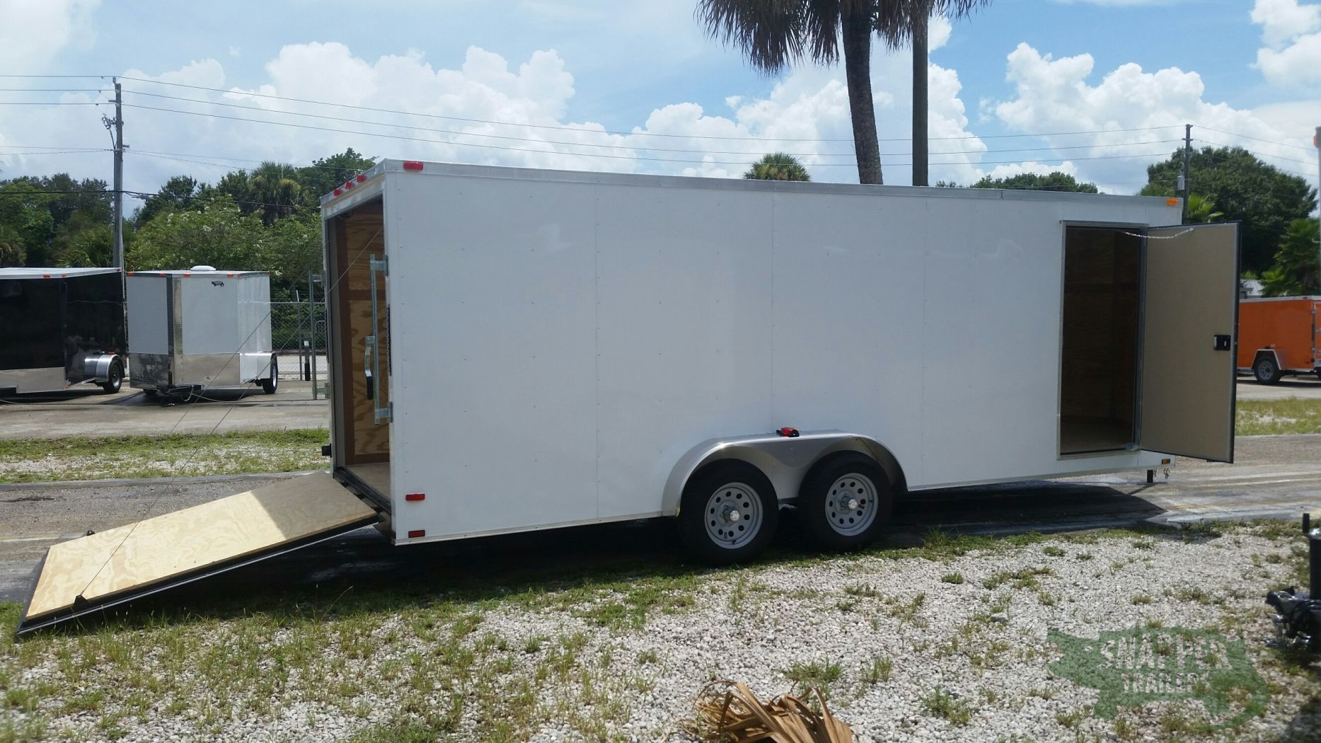 7x20 ta trailer white ramp side door extra height for Rv height