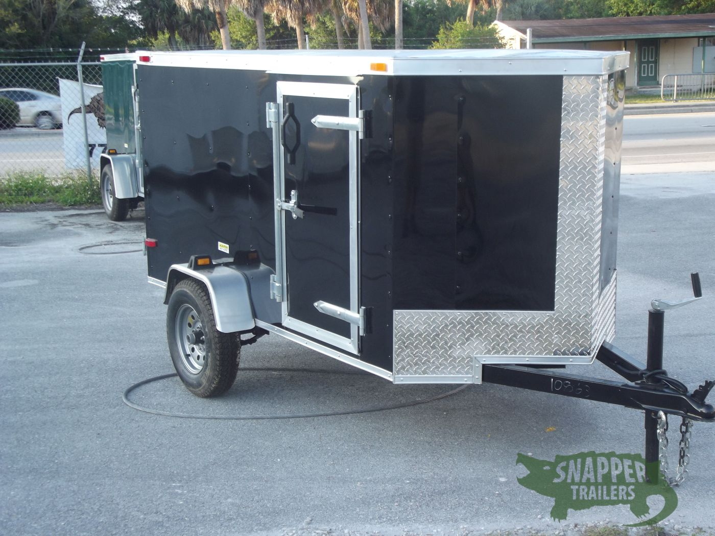 4x8 Sa Trailer Black Single Door Side Door Snapper