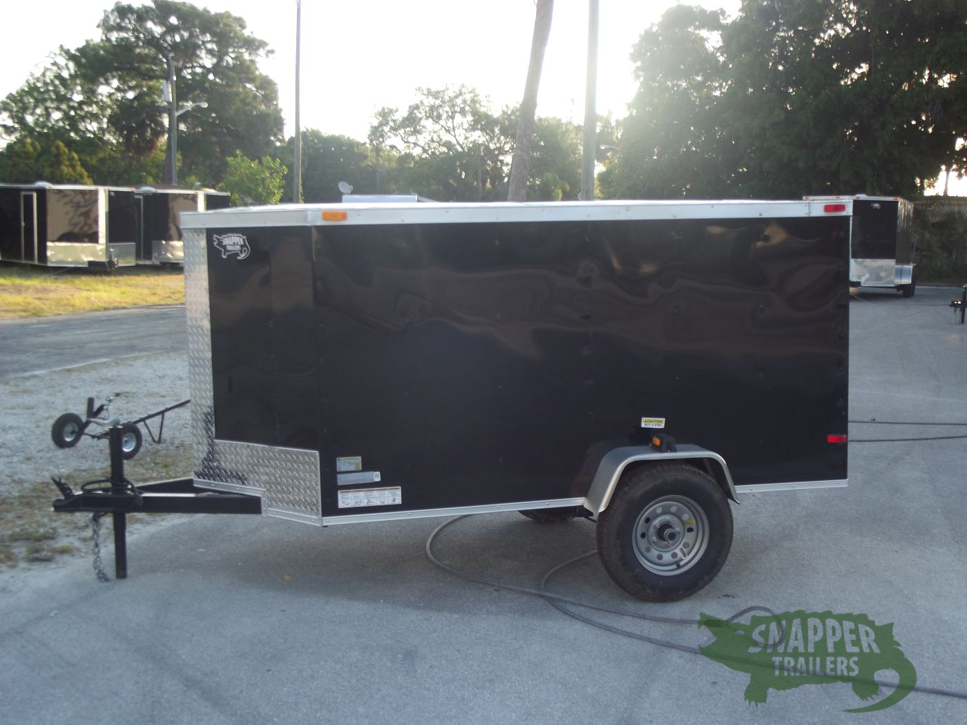 4x8 Sa Trailer Black Single Door Side Door Snapper