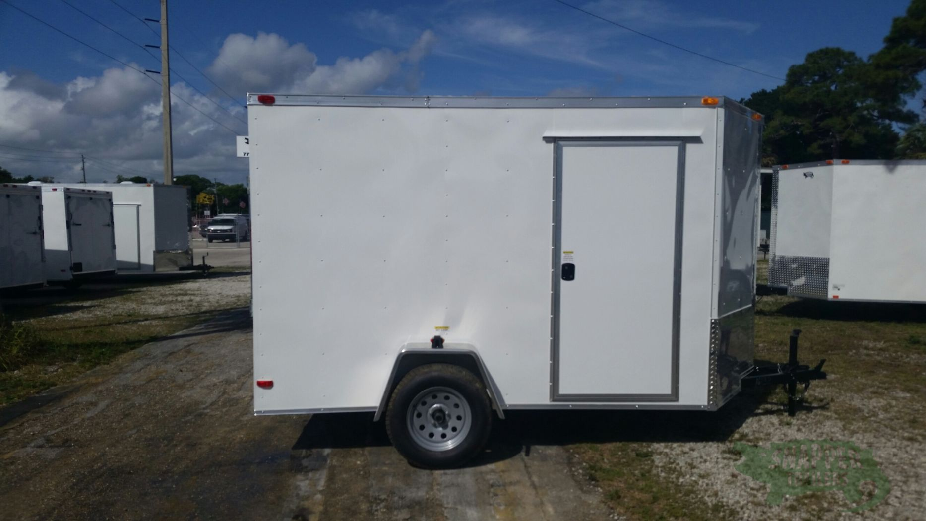 6x10 sa trailer white ramp side door extra height for Rv height