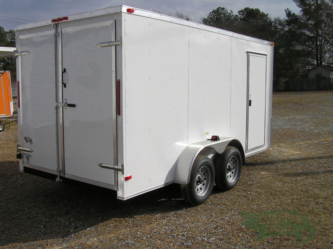 7x14 ta trailer white double doors side door extra for Rv height