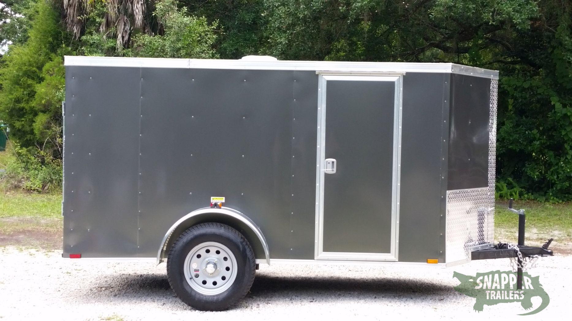 5x10 Sa Trailer Charcoal Grey Ramp Side Door Roof