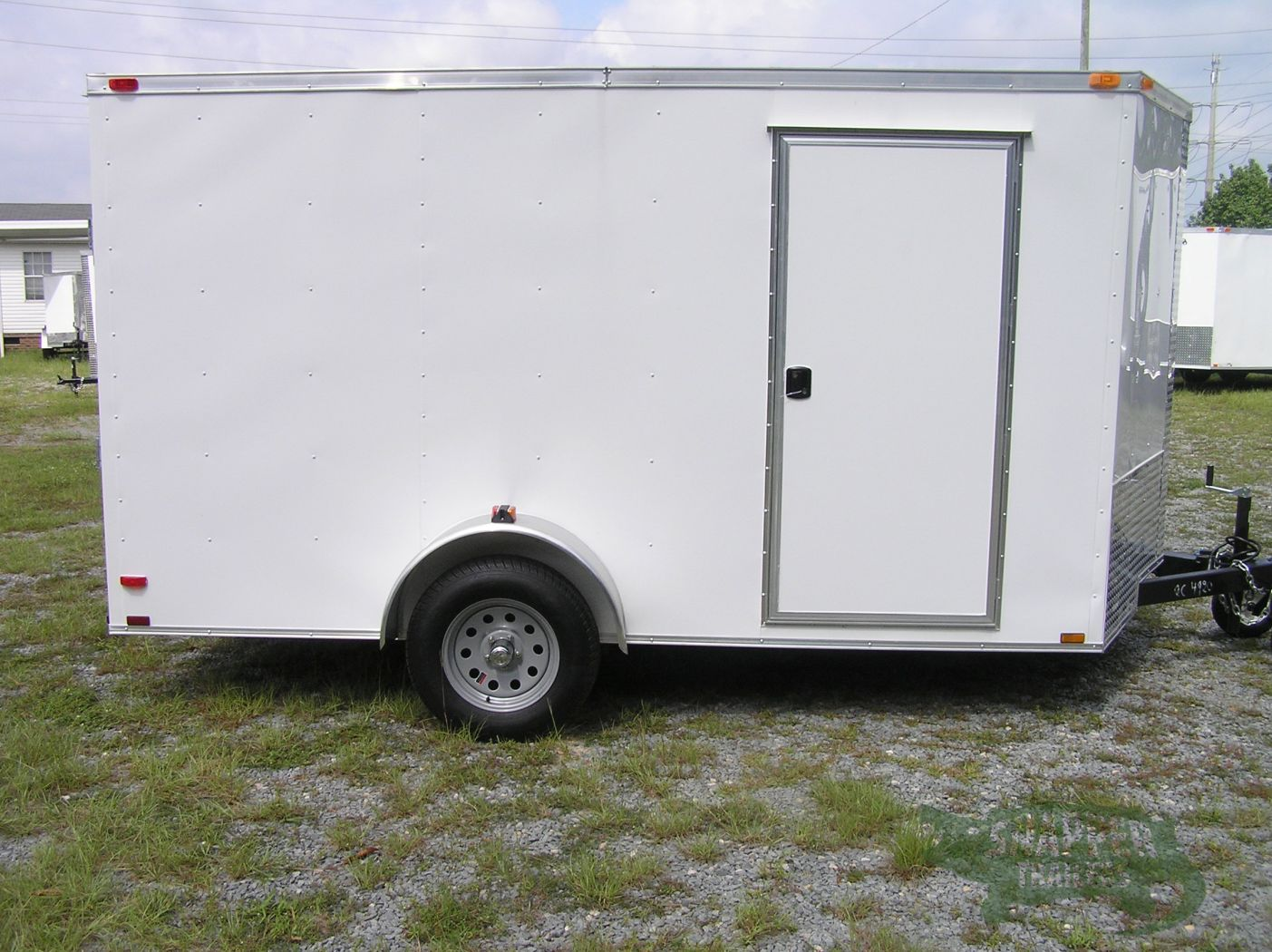 7x12 sa trailer white ramp side door brakes extra for Rv height