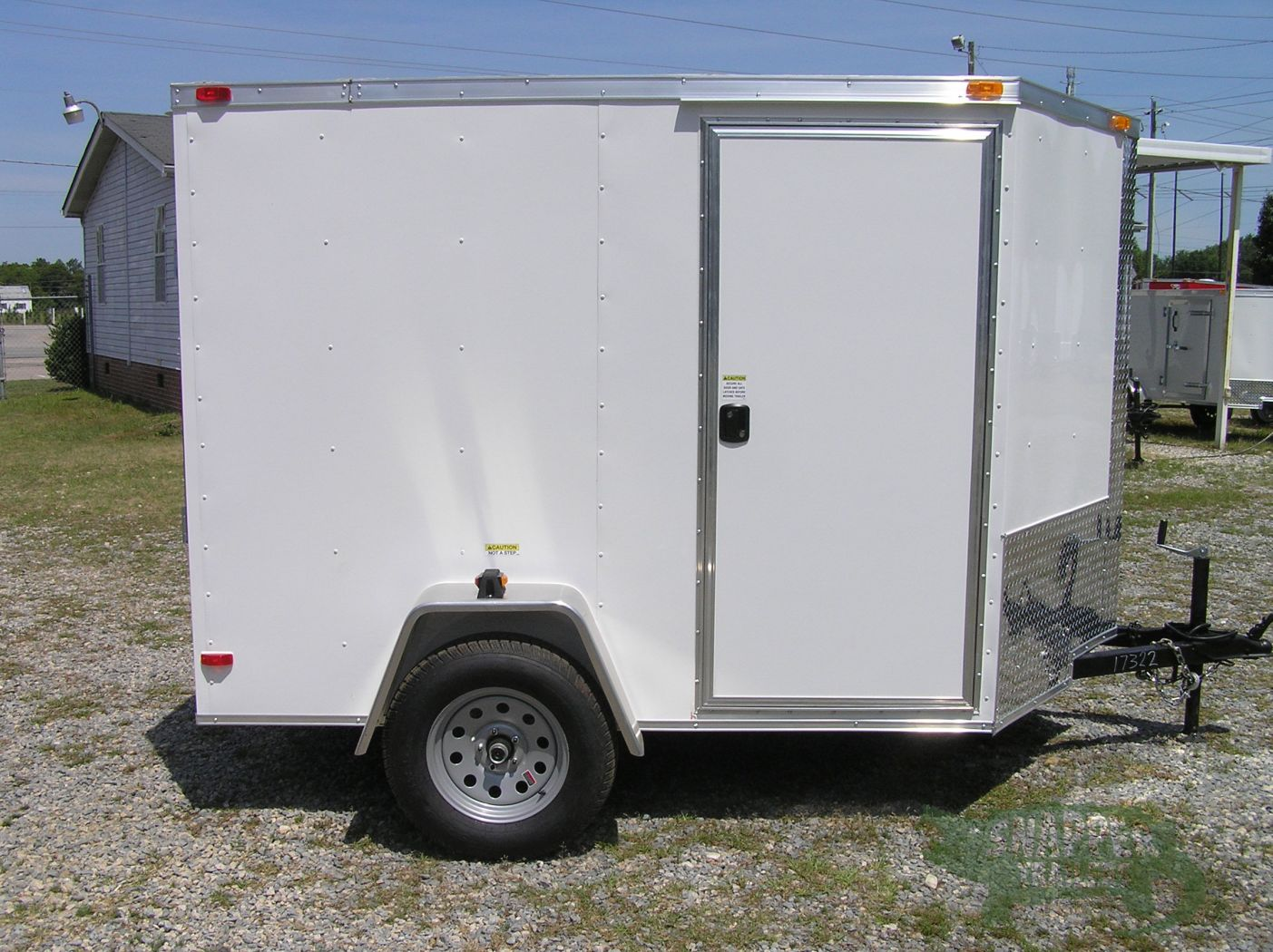 & 6x8 SA Trailer - White Ramp Side Door D-Rings | Snapper Trailers