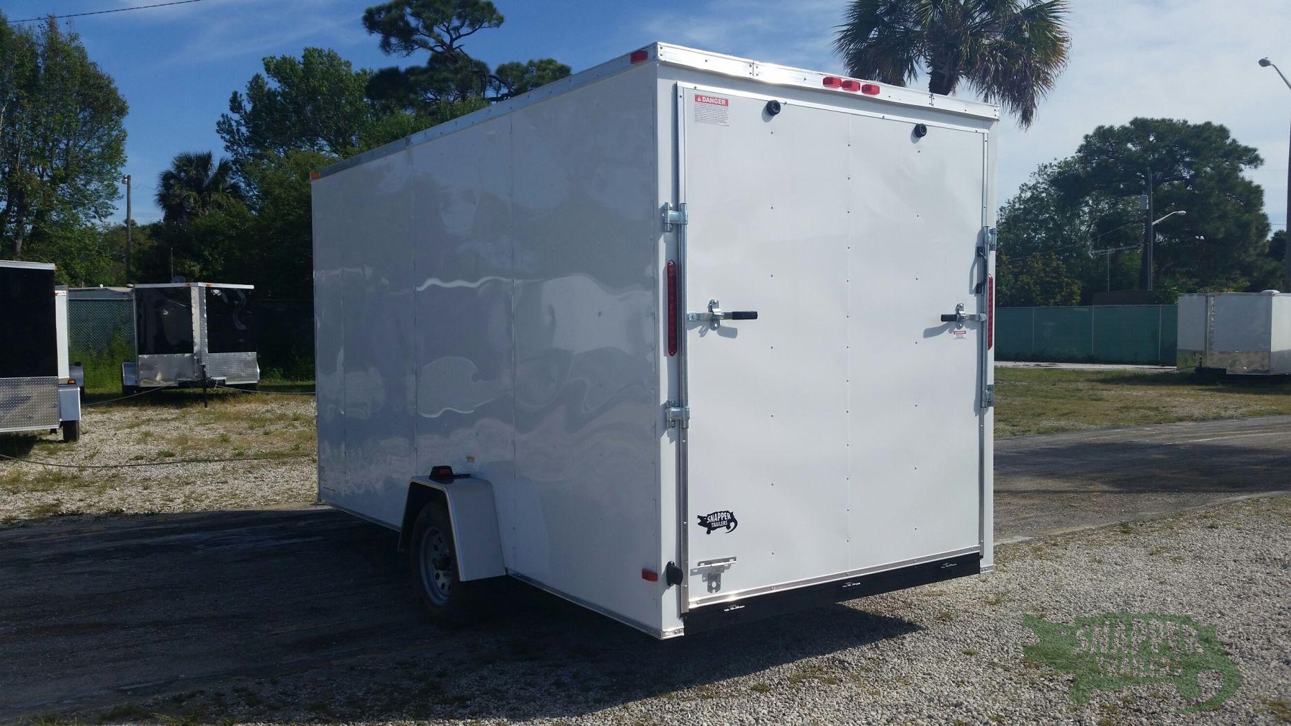 Custom 7x14 Sa Trailer White Ramp Side Door Extra
