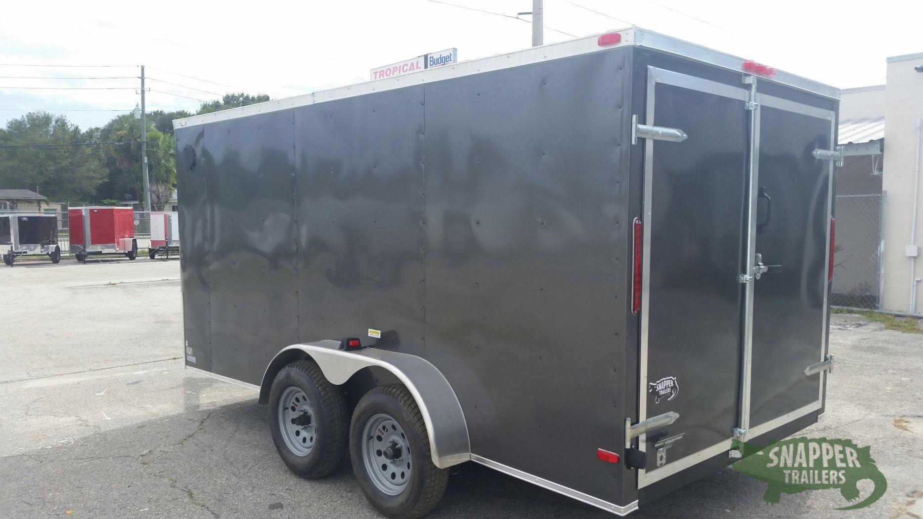 7x14 Ta Trailer Charcoal Gray Double Doors Side Door
