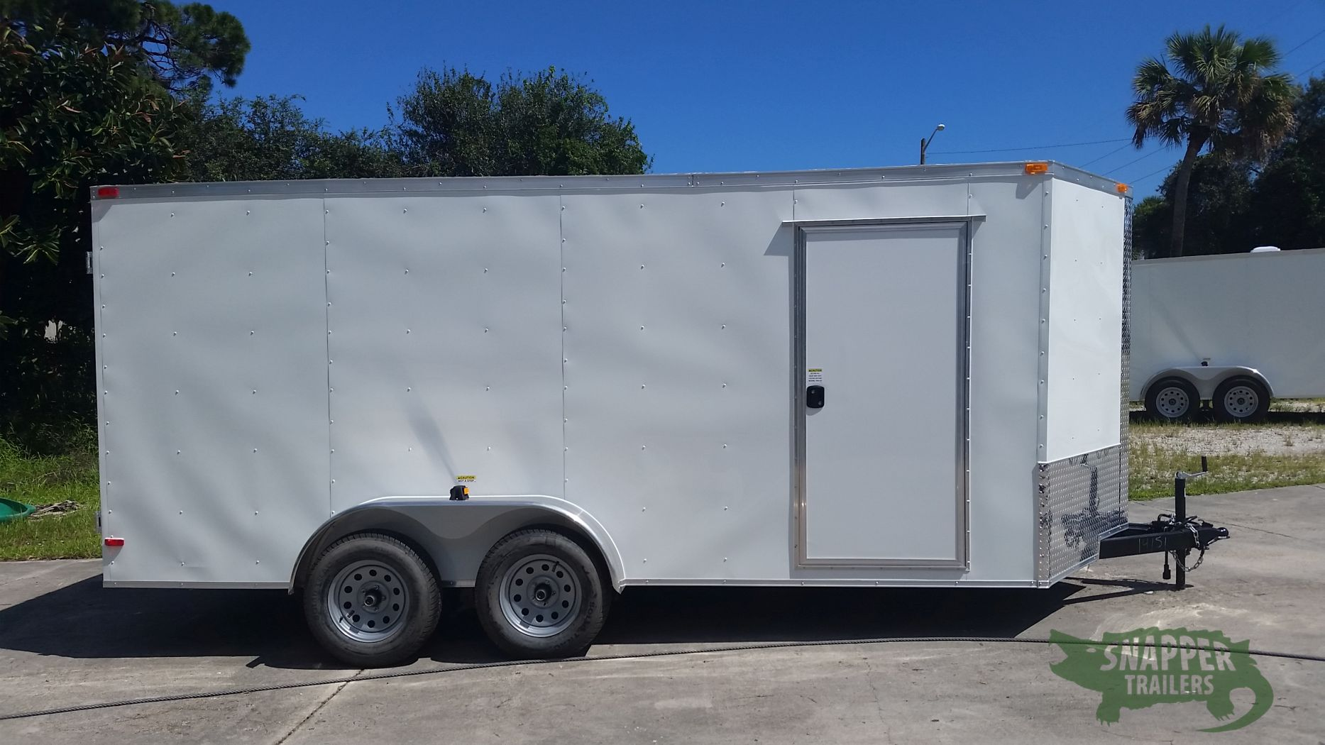 7x16 ta trailer white dowble doors side door extra for Rv height