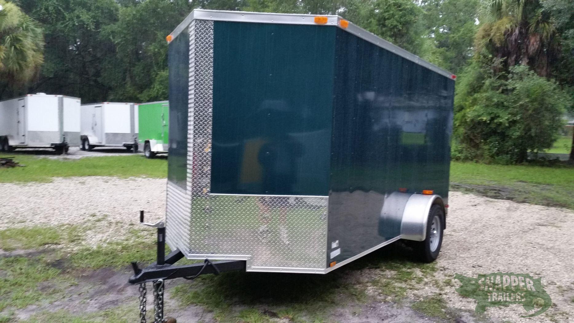 Custom 6x12 sa trailer green ramp side door extra for Rv height