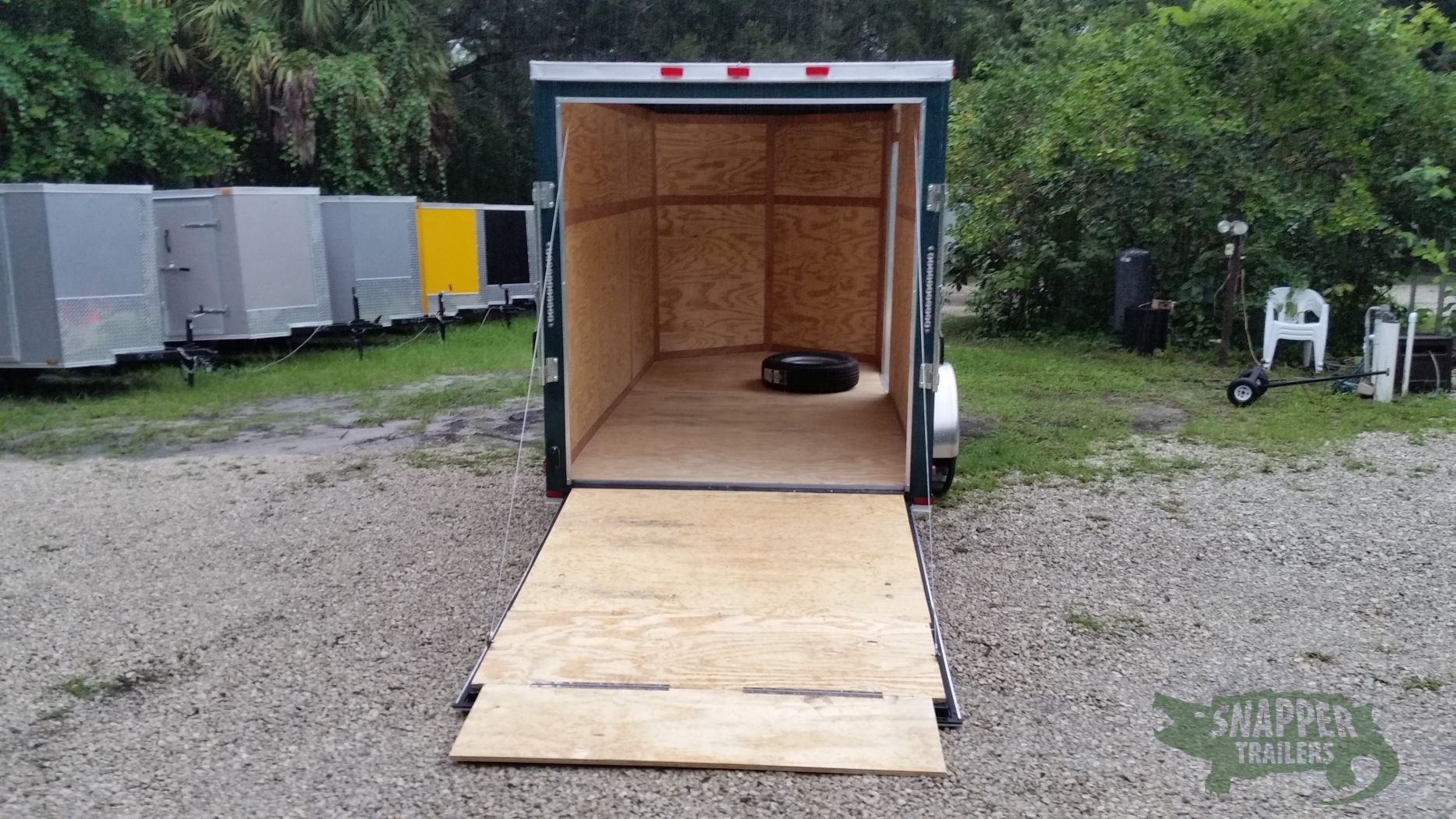Custom 6x12 sa trailer green ramp side door extra for Rv height