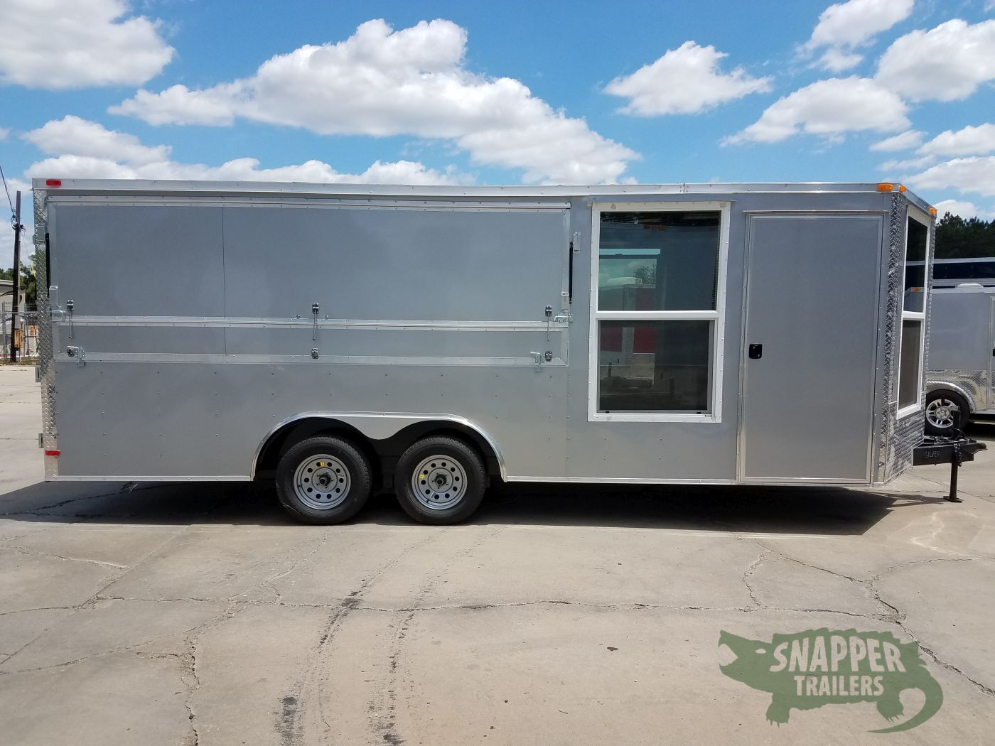 85x20 Ta Trailer Silver Ramp Side Door Concession Window And