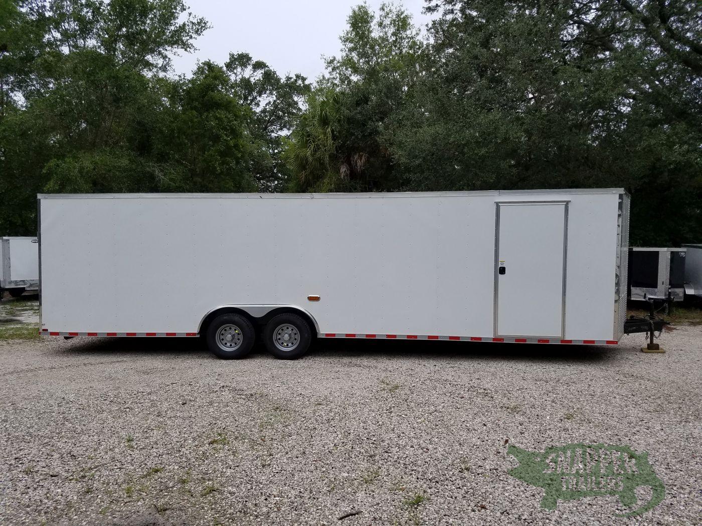 8.5×28 TA Trailer – White, Ramp, Side Door, D-Rings, 5K Axles