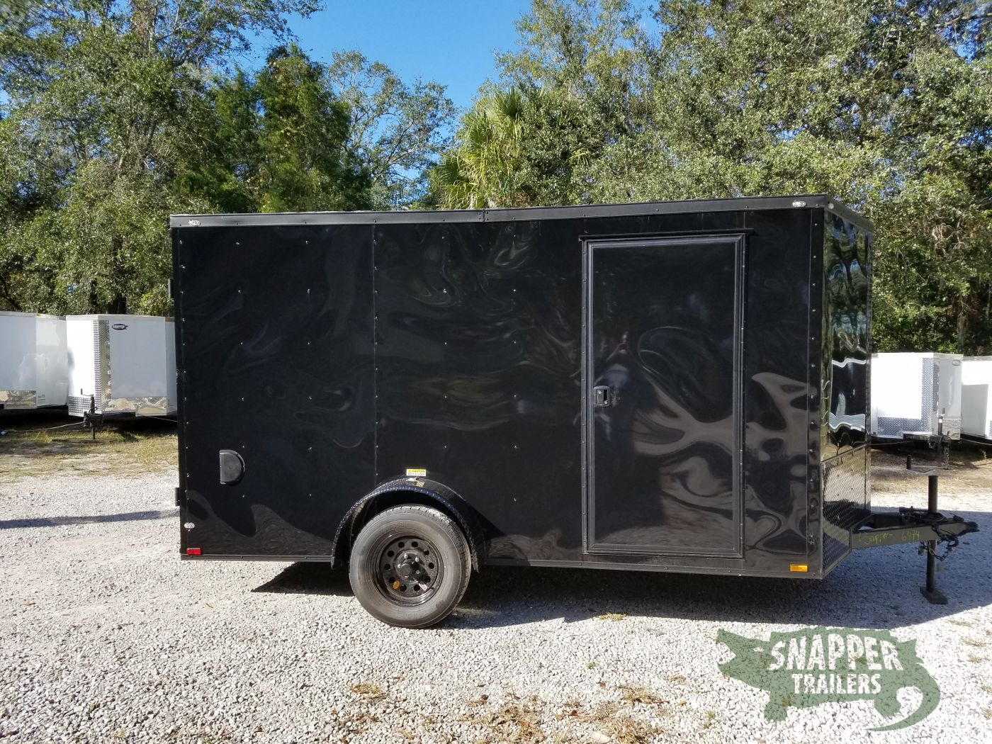 7×12 SA Trailer – Black with Blackout Package, Barn Doors, Side Door, Brakes, Extra Height
