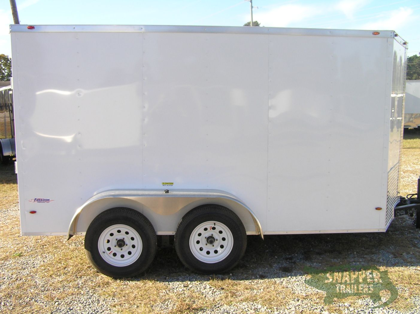 6×12 TA Trailer – White, Ramp, Side Door, Extra Height, E-Track