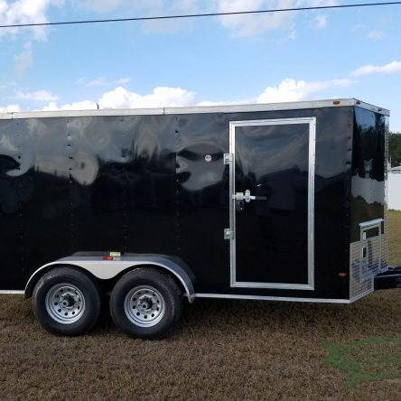 6×14 TA Trailer – Black, Double Doors, Side Door, Extra Height, Upgraded Frame, Electric Jack and Side Access Doors