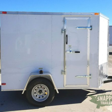 5×8 SA Trailer – White, Ramp, Side Door, Additional Height