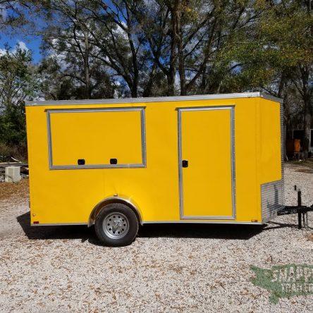 6×12 SA Trailer – Yellow, Double Doors, Side Door, Extra Height, Concession Door
