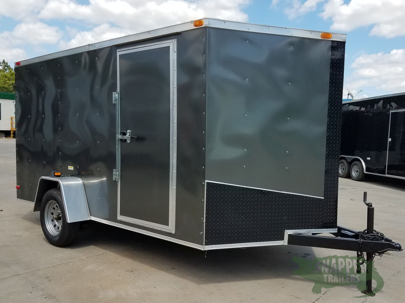 D And D Trailers >> 7x12 Sa Trailer Charcoal Grey Ramp Side Door Black Atp D Rings